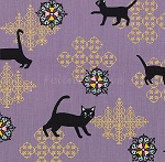 Fat Quarter - Hyakka Ryoran Neko 2 - Cats & Medallions - Purple