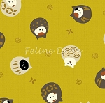 Fat Quarter - Hyakka Ryoran Neko 3 - Round Cat Toss - Gold