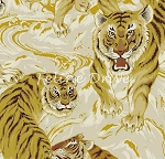 Fat Quarter - Hyakka Ryoran Tora - Large Tigers - Cream