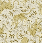 Fat Quarter - Hyakka Ryoran Tora - Tiger Toss - Cream