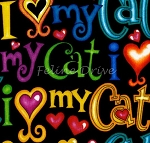 Fat Quarter - I Love My Cat - Black
