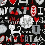Fat Quarter - I Love My Cat - Grey