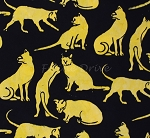 Cats - Yellow Submarine - Black - BATIK