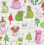 Fat Quarter - Jingle Cats - Natural