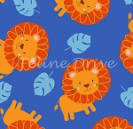 Fat Quarter - Jungle Jam - Lions - Royal