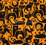 Fat Quarter - Kattastic - Katopia - Black & Orange