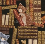 Fat Quarter - Kittens in the Library