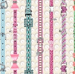 Fat Quarter - Kitty Glitter - Cat Collars Stripe - Digital