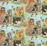 End of Bolt Piece - Kittens in the Garden - 12