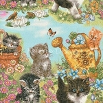 Fat Quarter - Kittens in the Garden