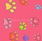 Fat Quarter - Loralie's Bright Paws - Pink