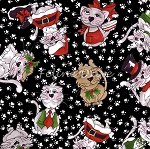 Fat Quarter - Loralie's Kitty Kitty Christmas - Kitty Blizzard - Black