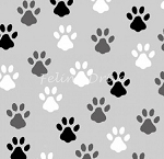 Fat Quarter - Love is a Four Legged Word - Paws - Grey