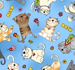 Fat Quarter - Love is a Four Legged Word - Tossed Cats - Blue