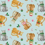Fat Quarter - Make Merry - Cat Toss - Light Blue