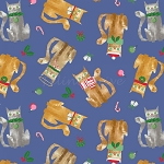 Fat Quarter - Make Merry - Cat Toss - Blue