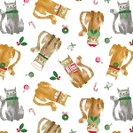 Fat Quarter - Make Merry - Cat Toss - White