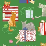 Make Merry - Gift-Wrapped Cats - Green