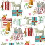 Fat Quarter - Make Merry - Gift-Wrapped Cats - White