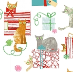 Make Merry - Gift-Wrapped Cats - White