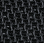 Fleece - Meow (Camelot) - Cat Cluster - Black - ANTI-PILL
