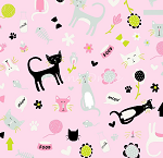 Fat Quarter - Flannel - Meow (Riley Blake) - Cat Toss - Pink