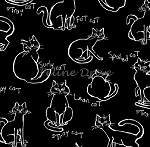 Fat Quarter - Meow Kitties - Black