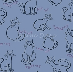 Fat Quarter - Meow Kitties - Blue
