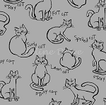 Fat Quarter - Meow Kitties - Grey