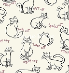 Fat Quarter - Meow Kitties - Natural