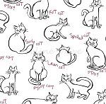 Fat Quarter - Meow Kitties - White