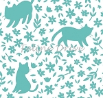 Meow (Camelot) - Kitty Silhouettes - Turquoise