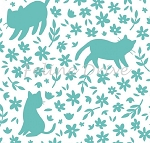 Fat Quarter - Meow (Camelot) - Kitty Silhouettes - Turquoise