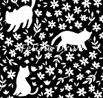 Fat Quarter - Meow (Camelot) - Kitty Silhouettes - Black