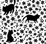 Fat Quarter - Meow (Camelot) - Kitty Silhouettes - White