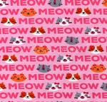 End of Bolt Piece - Flannel - Meows & Cat Faces - Pink - 18
