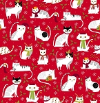 End of Bolt Piece - Meowy Christmas - Christmas Cats - Red - 24.5