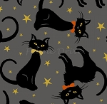 Fat Quarter - Midnight Spell - Cat Toss - Grey