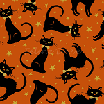 End of Bolt Piece - Midnight Spell - Tossed Cats - Orange - 11
