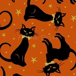 Fat Quarter - Midnight Spell - Cat Toss - Orange
