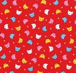 Fat Quarter - Minny Muu Collection - Cat Head Toss - Red