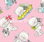 Fat Quarter - Miss Kitty's Colors - Tossed Kittens - Pink