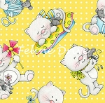 Fat Quarter - Miss Kitty's Colors - Tossed Kittens - Yellow