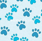 Fat Quarter - Miss Kitty's Colors - Paw Prints - Blue