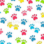 Fat Quarter - Miss Kitty's Colors - Paw Prints - Multi