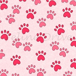 End of Bolt Piece - Miss Kitty's Colors - Paw Prints - Pink - 19