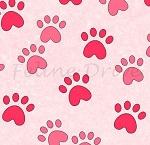 Fat Quarter - Miss Kitty's Colors - Paw Prints - Pink