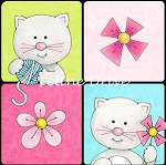 Fat Quarter - Miss Kitty's Colors - Cats in Squares