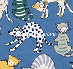 Fat Quarter - Monkey's Business - Kitty Kat Max - Blue