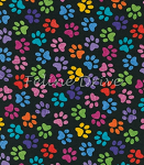 Fat Quarter - Multi Paws on Black